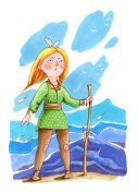 Watercolor illustration. Ginger girl standing on the hill