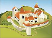 Cartoon old castle