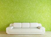 White Sofa and Green Wall