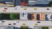Big cartoon city street traffic aerial view