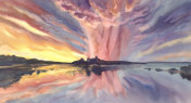 sunset by the lake watercolor background