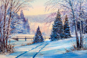 White bridge over the river, winter landscape