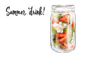 Colorfu hand-drawn illustration of delicious smoothie of fresh fruit. Fresh summer cocktail with strawberry and mint. Glass jar with ice cubes. Healthy beverage. Vitamin natural drink.
