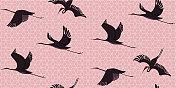 Japanese Style Seamless Cranes Pattern