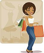 cartoon shopping girl (African)