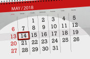 The daily business calendar page 2018 May 14