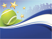 Tennis Ball on Abstract Party Background