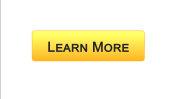 Learn more web interface button orange color, education online program, webinar