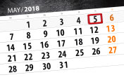 The daily business calendar page 2018 May 5