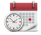 Realistic white wall clock and red calendar illustration