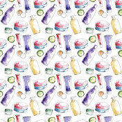 Watercolor hand-painted make-up cosmetic products illustration seamless pattern