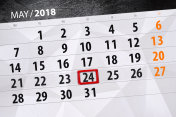 The daily business calendar page 2018 May 24