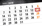 The daily business calendar page 2018 May 13