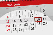 The daily business calendar page 2018 May 18