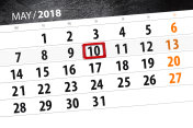The daily business calendar page 2018 May 10