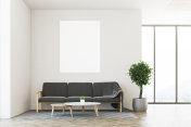 White living room, sofa, poster
