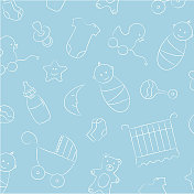 Blue and white picture of baby boy background pattern