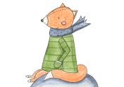 Sitting Fox Watercolor
