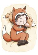 Boy Sleeping Wearing Fox Pajamas