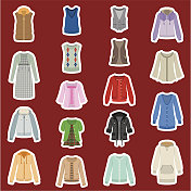 Illustration of Women's fashion tops and dresses