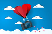 Heart air balloon carries dslr camera paper cut style illustration