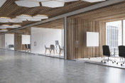 Wooden ceiling office lobby, poster