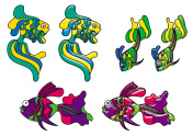 Decorative fishes in stained glass style