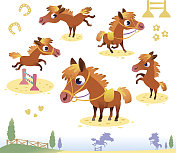 Cartoon images of cute horses doing various actions