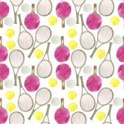 Watercolor  tennis and ping pong balls, ping pong and tennis rackets
