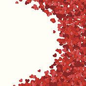 Red hearts confetti Valentine's day or Wedding