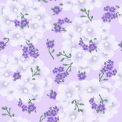 Seamless pattern with forget me not and violets flowers.