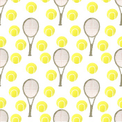 Watercolor tennis balls and rackets