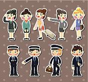 Pilots and flight attendants stickers
