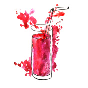 glass with red fruit juice