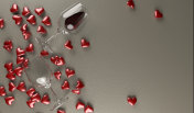 Red Wine Glasses With Bunch Of Red Hearts