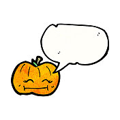 pumpkin with speech bubble cartoon