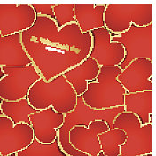 Background with red hearts. Vector