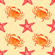 Watercolor seamless pattern with crab, starfish