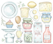 Big set with various grocery products