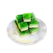 Saint Patricks day rice krispies treats, watercolor illustration in hand-drawn style isolated on white background.