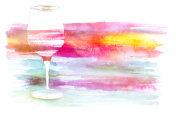 Watercolor glass of red wine with brush strokes texture