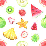 Hand painted seamless pattern with exotic fruits
