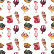 Seamless dessert  pattern set
