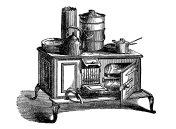 Antique household book engraving illustration: Stove fire range
