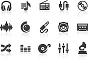 Set of music and audio icons