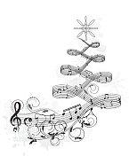 Christmas tree music banner
