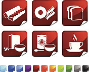 full breakfast royalty free vector icon set stickers