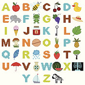 ?hildren's alphabet with pictures in the style of pixel art