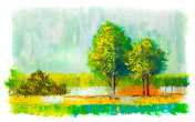 Oil painting colorful  trees.