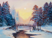 little bridge and snow covered landscape